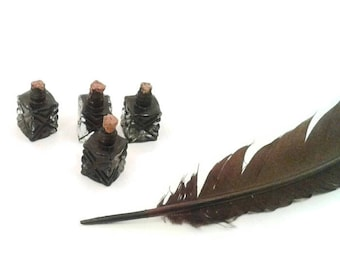 Tiny ink well, Black India ink, doll, glass, mini ink well,  novelty ink well, journal Writing, calligraphy, art ink, dip pen ink, quill ink