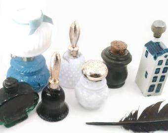 Novelty ink wells, Black India ink, lantern, Dutch house, journal Writing, calligraphy, art ink, dip pen, quill, bell, milk glass, hobnail