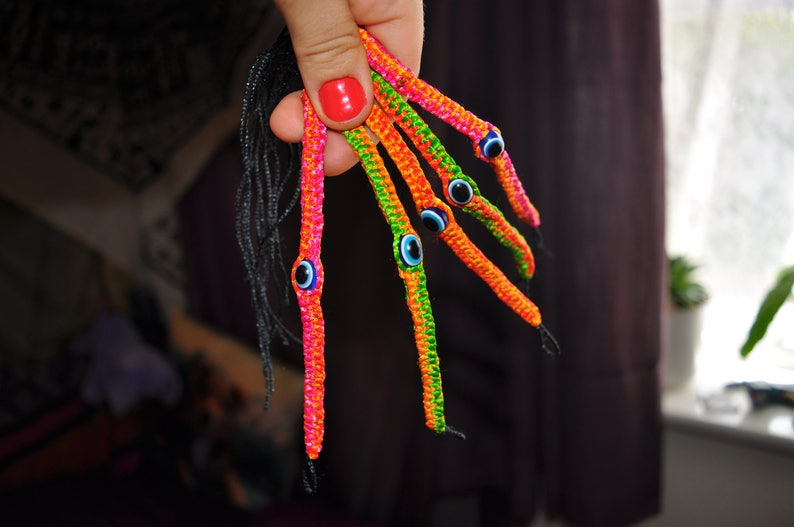 Orange /& Green Chose of 6 Colour Combos Pink Friendship Bracelet Party Bag Gift Best Friend Jewellery Evil Eye Neon Bracelet