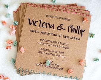 Square Kraft Wedding Invitation with envelope