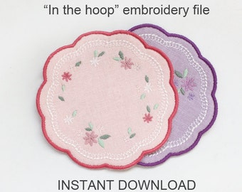 ITH In-the-hoop coaster - machine embroidery file instant download