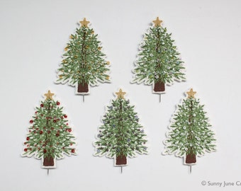 Mini embroidered christmas tree pin(POT NOT INCLUDED)