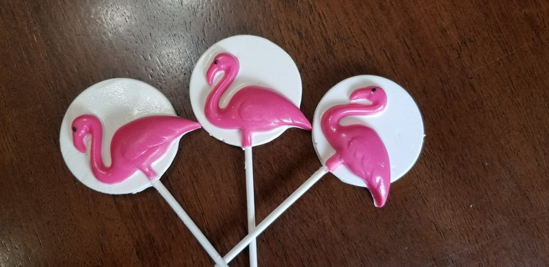 Pink Flamingo Beach Party Chocolate Lollipops Party Favors