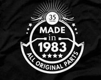 35th Birthday Gift Ideas For Men Man Made In 1983 T Shirt All Original Parts 35 Years Old CTM1045