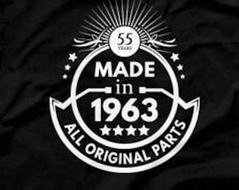 55th Birthday Gift Ideas For Men Man Made In 1963 T Shirt All Original Parts 55 Years Old Born 1961 Mens Tee CTM 1041