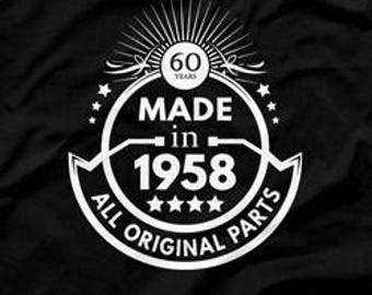60th Birthday Gift Ideas For Men Man Made In 1958 Shirt All Original Parts T Age 60 Gifts Mens CTM1040