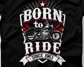 55th Birthday Gift Ideas For Men Man Biker T Shirt Motorcycle Gifts 55 Years Old Born In 1963 Mens CTM 1005