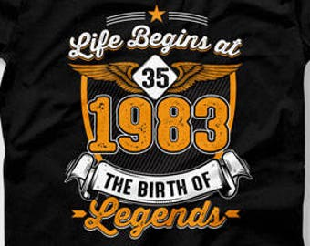 35th Birthday Outfit Ideas Custom Year Gifts Bday Present Personalized T Shirt B Day 1983 Mens Ladies Tee CTM 576