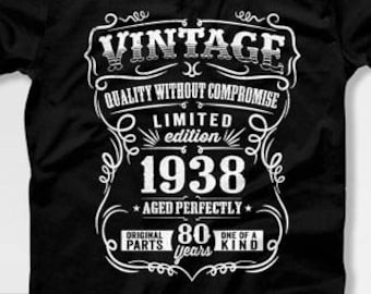 80th Birthday Gift For Men T Shirt Present Born In 1938 80 Years Old Gifts Mens Tshirt CTM1011