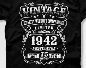 75th Birthday Gift For Man T Shirt Present Born In 1942 75 Years Old Gifts Mens CTM 401