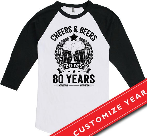 80th Birthday Gift Ideas For Men T Shirt Cheers