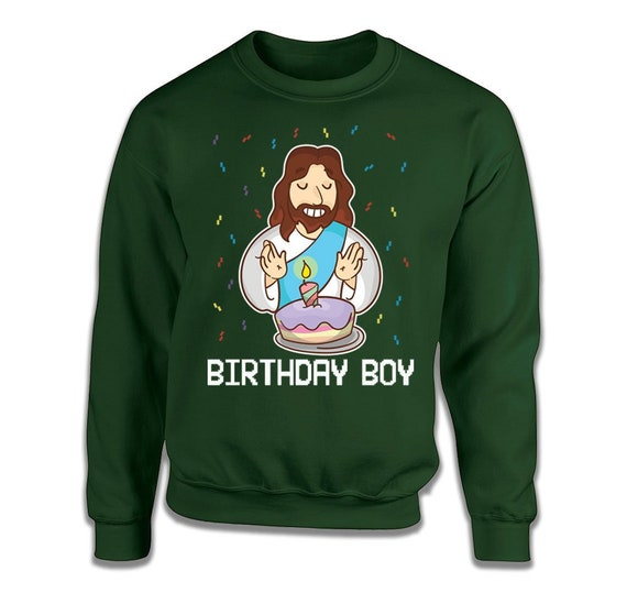 Birthday Boy Jesus Ugly Christmas Sweater For Men Holiday Sweater Party Mens Christmas Jumper Funny Jesus Sweater Birthday Gift Idea for Him