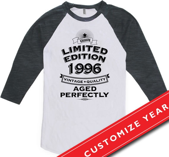 20th Birthday Gift Ideas For Him Man Gifts Born In 1996 20 Years Old American Apparel Unisex Raglan CTM 232