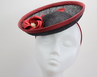 049839ad9fe3c Elegant saucer headpiece black red silk flower ascot cocktail party wedding