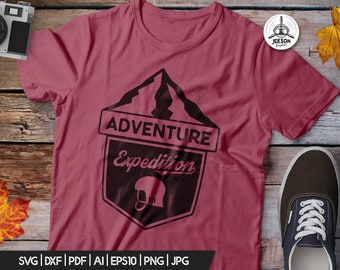 Adventure Expedition SVG - Mountains Cut File Hiking Travel Digital Logo Wanderlust svg Camp Cricut Cutting File Outdoors svg png Commercial
