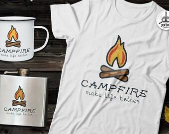 Camping SVG Cut File - Campfire svg Hiking Travel Digital Logo Wanderlust svg Adventure emblem Cricut Cutting File Outdoors png Commercial