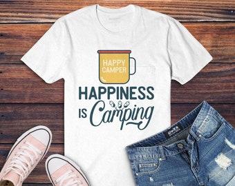 Happiness is Camp SVG Cut File - Outdoors svg Hiking Travel Digital Logo Wanderlust svg Adventure mug emblem Cricut Cutting png Commercial