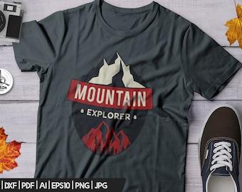 Mountain Explorer SVG - Adventure Cut File Mountains Travel Digital Logo Wanderlust svg Camp Cricut Cutting File Outdoors svg png Commercial