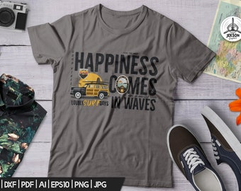 Surfing SVG Cut File - Happiness Comes in Waves Quote Travel Svg Ocean Tee Adventure Surf Car shirt Silhouette Cricut Printable Commercial