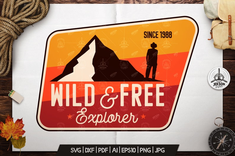 Wild Free Svg Patch Explorer Cut File Mountains Travel Etsy