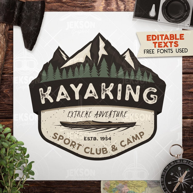 Kayak Svg Cut File Adventure Digital Mountain Camp Cut File Etsy