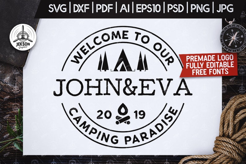 Premade Camp Logo Svg Digital Custom Patch Template Etsy