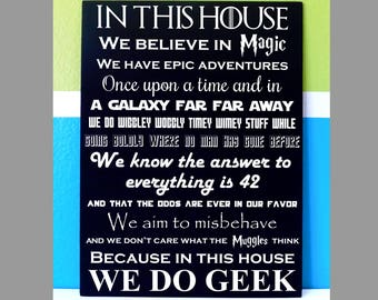 In This House we do Geek Painted Canvas - Geek chic home decor