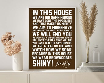 In This House we do Firefly - Geek chic home decor - Firefly Art - Serenity Art - Firefly Print- Serenity Print - INSTANT DOWNLOAD