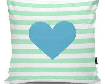 Decorative pillow Heart blue