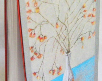 handbound diary, unlined notebook, coptic binding, blank book, art journal, 8 by 5 inch diary, gray blue orange, bouquet, pastel flower,