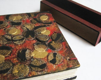 Mini notebook, original handmade, blank book, red black gold, small diary, pocket size book, small sketch, unlined journal, polka dots