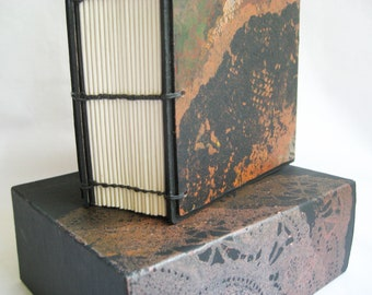 Black Journal, brown tone, black brown rust, handmade book, book & case, monoprint lace, coptic binding, 288 page diary, sketchbook in case