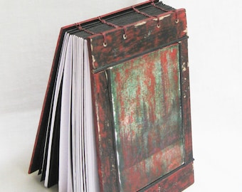 Rustic journal, artist book, black drawing sketchbook, red green black, blank book, handmade book, dot paper, 144 pages