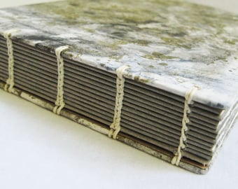 Lay flat 5 X 7 sketchbook, mixed media book, wet and dry, art journal, white and gray, gray paper, handbound book, blank book, coptic