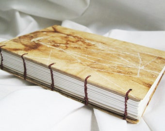 Small plain paper journal, blank book, handmade diary, tea stain, natural and white, lay flat notebook, brown and beige, naturalist gift