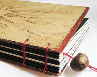 Artist Journal, sunburst, flower, pyrography, drawing paper diary, sketchbook, handmade blank book, OOAK, handcrafted book, natural, 8 X 5