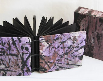 Black paper notebook, small blank book, small square notebook, black paper, little journal, gel pen, arty book, purple and black, abstract