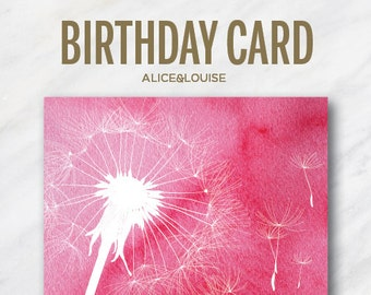 Birthday Card 5x7.  Hope all your wishes come true!  Instant Down Load