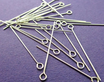 New 25mm 24 gauge 925 Sterling Silver Eye Pins 24pcs.