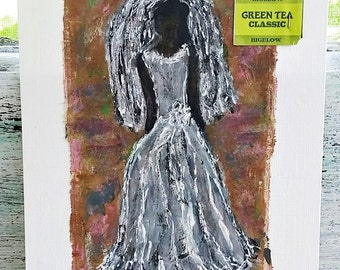 Tea Bag, Art, Recycled, Upcycled, Affordable, Under 10 Dollars, Abstract, Bride, Mixed Media, Painting, 5x7 Watercolor Paper, Fashion, Girl