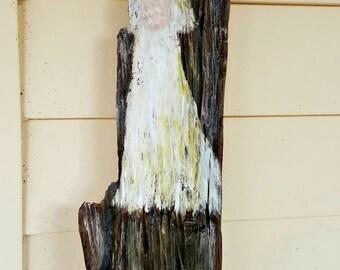 Bayou Bride, Acrylics & Chalk Paint on Driftwood