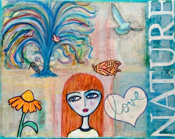 11x14, Mixed Media, Canvas, Wall Art, Whimsical, Nature, Girl