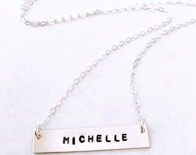 Sterling Silver Custom Stamped Word Name Necklace