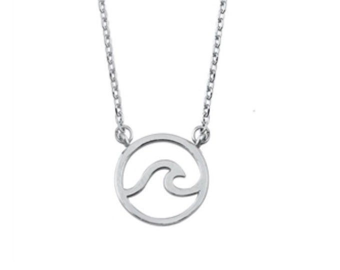 Tiny Dainty Sterling Silver Circle Wave Layering Necklace