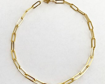 14k Gold Filled Small Paper Clip Style Trendy Anklet