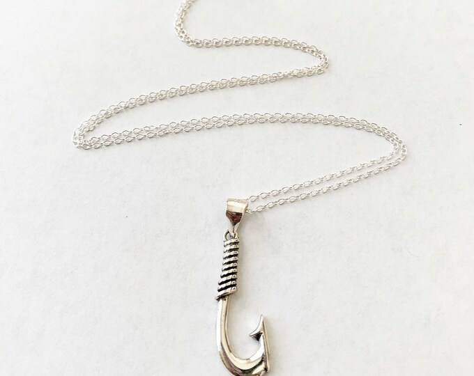 Sterling Silver Island Fish Hook Charm Pendant Necklace