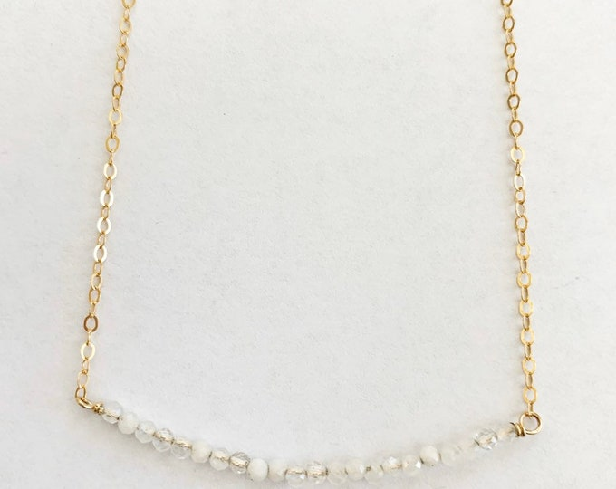 Gold Filled Sterling Silver Tiny Faceted Moonstone Necklace