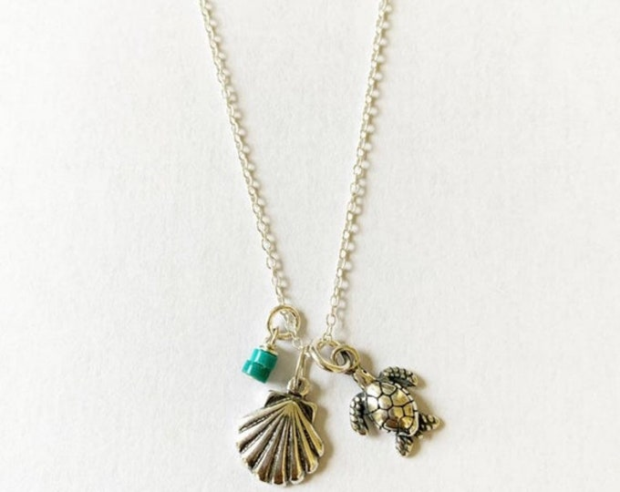 Sterling Silver Beach Necklace With Turtle, Seashell, and Turquoise