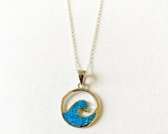 Sterling Silver Blue Opal Wave Necklace