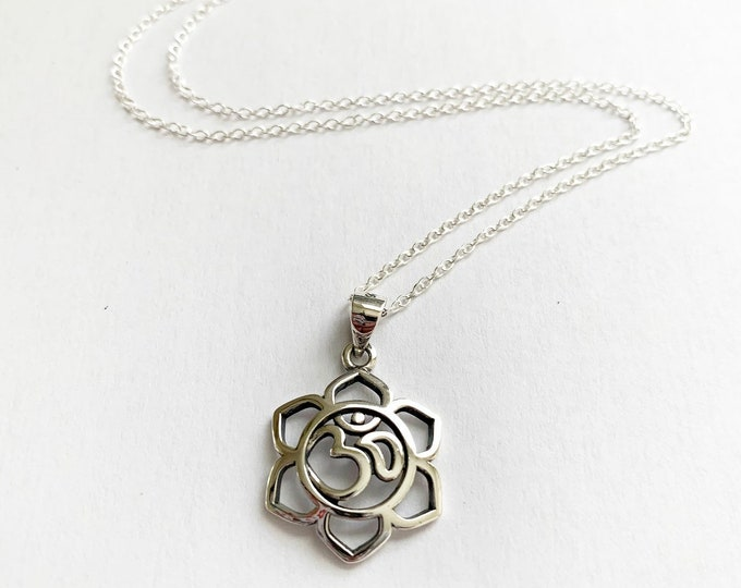 Sterling Silver Lotus Flower OM Layering Necklace